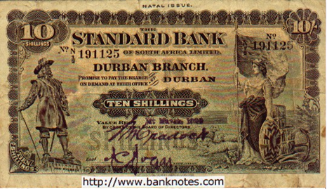 "Standard Bank Ten Shillings - ""Promise to pay the bearer on demand at their office in Durban, TEN SHILLINGS."""